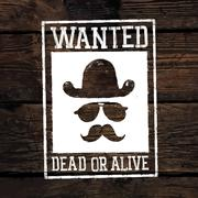 "Old styled wild west poster ""Wanted dead or alive..."". On wooden wall texture Stock Illustration"