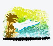 Illustration of airplane with palm of tropics Stock Illustration