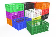 stack plastic crates - stock illustration