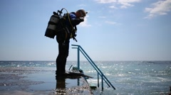 Man with aqualungs dives in Crimea, Ukraine. Stock Footage