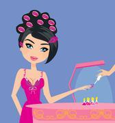 illustration of the beautiful woman in beauty salon - stock illustration