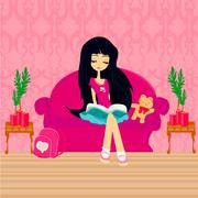 Teen girl Reading A Book Stock Illustration