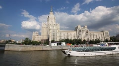 Sailing ship and building on Kotelnicheskaya embankment in Moscow Stock Footage