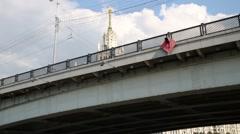 Under view of bridge and building on Kotelnicheskaya embankment Stock Footage