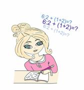Illustration of a young girl sat at her desk writing in a book Stock Illustration