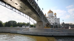 Under view of Patriarchal Bridge and Cathedral of Christ Savior Stock Footage