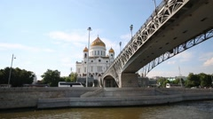 Patriarchal Bridge and Cathedral of Christ Savior in Moscow. Stock Footage
