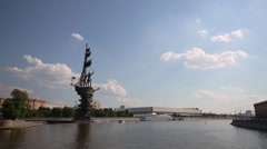 Monument to Peter Great at summer day in Moscow. View from ship Stock Footage