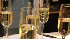 Tray with glasses of champagne Stock Footage