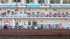 Board of Pontoon restaurant - three-deck ship moored quay Stock Footage