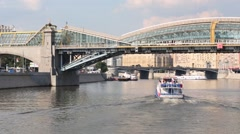 Bogdan Khmelnitsky footbridge and ships, It is opened in 2001 Stock Footage