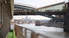 Ship out of focus and Bogdan Khmelnitsky footbridge. Stock Footage