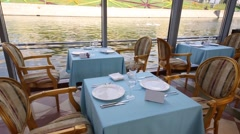 View from window of floating Restaurant River Palace on embankment Stock Footage