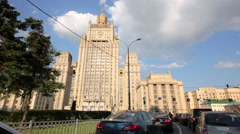 Stock Video Footage of Traffic jam near Russian Foreign Ministry building.
