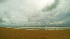 Overcast mystery look beach time lapse. 4K resolution Stock Footage