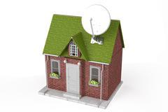 Satellite dish on home - stock illustration