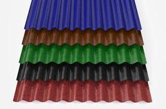 Corrugated slates for roofing Stock Illustration