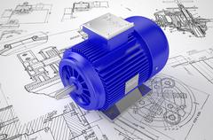 Industrial electric motor on the drawing Stock Illustration