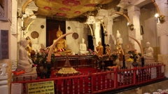 Inside the Temple of the Tooth in Kandy Stock Footage