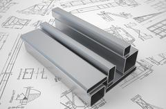 Rolled metal on the drawing Stock Illustration