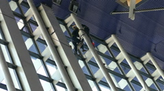 Window Washers In Shanghai Airport Stock Footage