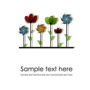 Multicolored flowers on a white background Stock Illustration