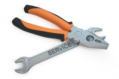 pliers  and wrench, repair and service concept - stock illustration