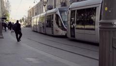 Jerusalem tram, Jaffa street, Israel Stock Footage