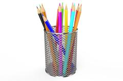 Color pencils in holder - stock illustration