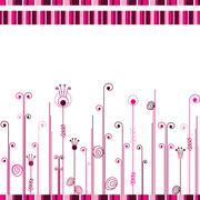 Abstract white background with pink lines and curls Stock Illustration