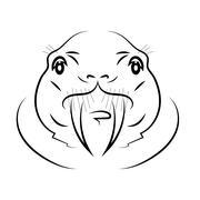 Walrus Head Stock Illustration