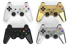 set of colored gamepads - stock illustration