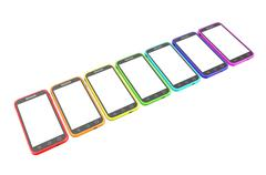 Smartphone in row Stock Illustration