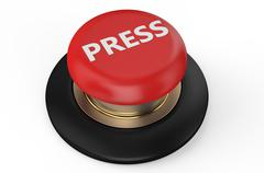 press red button - stock illustration