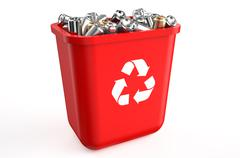 Recycling container with metallic cans Stock Illustration