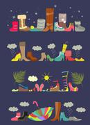 Collection of various shoes. Four seasons - stock illustration