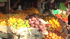 Sumatra, fruit stall on market Stock Footage