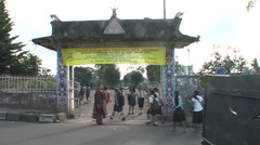 Sumatra, school children walking to the school yard - stock footage