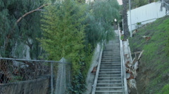Echo Park stairway, Los Angeles, walking right of way Stock Footage