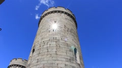 The old tower and patch of reflected light. Stock Footage