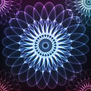 Blue shining vector cosmic flower Stock Illustration