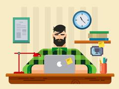 Man at a Desk in Front of Laptop Stock Illustration
