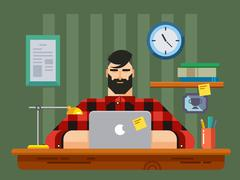 Man at a Desk in Front of Laptop - stock illustration