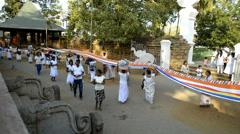 Pilgrims at Sri Maha Bodhi (sacred bodhi tree) in Anuradhapura, Sri Lanka. Stock Footage