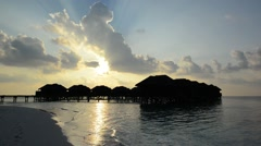 Landscape of Tropical Sand Beach and Indian Ocean at Sunset, Maldives - stock footage