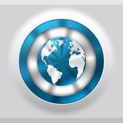 Cool metallic button with blue globe Stock Illustration