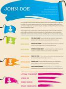 Paint roller resume template - stock illustration