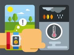 Weather Application on Smart Watch Stock Illustration