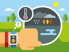 Weather Application on Smart Watch - stock illustration