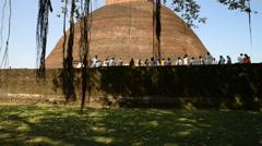 Pilgrims at Jethawanaramaya Dagoba in Anuradhapura, Sri Lanka. Stock Footage